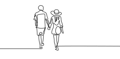 Continuous one line couple in love walk holding hands