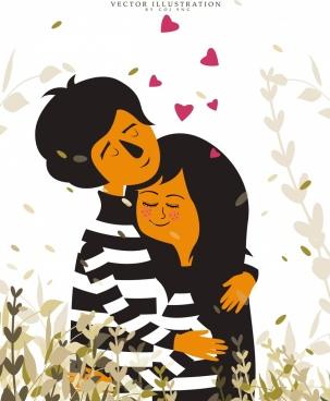 love_drawing_romantic_couple_icon_classical_design_6833847
